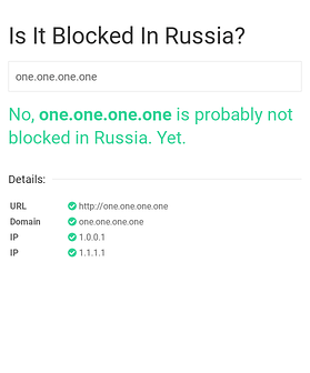 screenshot of https://isitblockedinrussia.com/?host=one.one.one.one